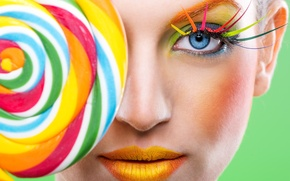 Картинка лицо, ресницы, стиль, модель, радуга, макияж, губы, леденец