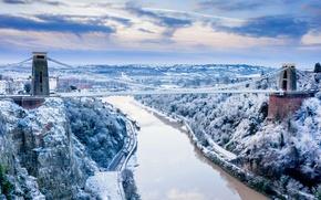 Картинка зима, снег, река, скалы, Англия, Бристоль, Сомерсет, Клифтонский мост