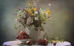 Картинка лето, цветы, букет, натюрморт, черешня, нектарин