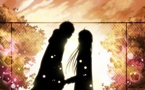Обои парень, любовь, листья, девушка, встреча, осень, свидание, чувства