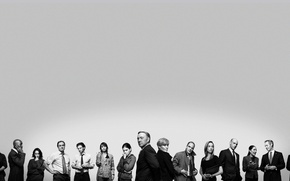 Картинка actors, black and white, Kate Mara, characters, actresses, TV series, House of Cards, Kevin Spacey, …