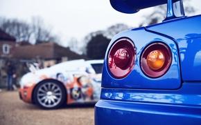 Обои Coupe, 1999, Бугатти, Вейрон, Скайлайн, Bugatti, ГТ-Р, Ниссан, Nissan, R34, Skyline, Spec, Veyron, BNR34, GT-R, ...