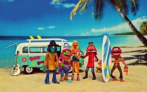 Картинка море, пляж, лето, небо, облака, солнечный, Animal, Janice, кокосовой пальмы, доски для серфинга, Volkswagen Transporter, …