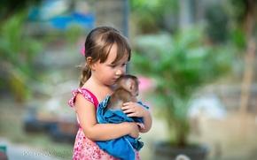 Картинка настроение, обезьяна, девочка
