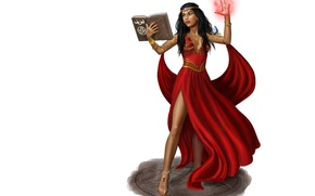Картинка взгляд, девушка, фантастика, магия, арт, книга, красное платье, колдовство