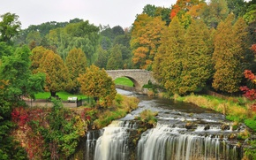 Картинка осень, деревья, мост, парк, река, водопад