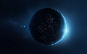 Обои звезды, огни, планета, спутник, цивилизация
