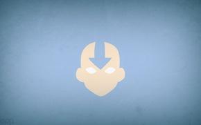 Картинка минимализм, Avatar, аватар, синий фон, blo0p, Avatar: The Last Airbender, Aang