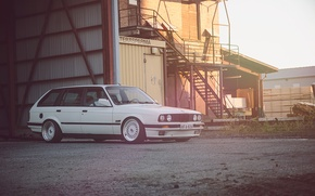 Картинка BMW, white, wagon, E30