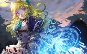 Картинка девушка, магия, аниме, арт