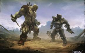 Картинка пес, броня, пустошь, постапокалипсис, art, Bethesda Softworks, super mutant, fallout 4, братство стали, супермутант, Brotherhood …