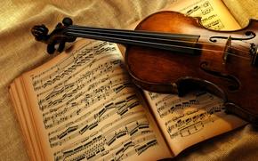 Обои ноты, скрипка, книга