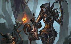 Картинка лес, девушка, кровь, череп, голова, арт, рога, факел, стрела, Diablo III, арбалет, Reaper of Souls