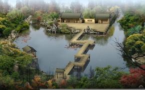 Обои лес, рыбы, мост, река, камни, дома