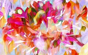 Картинка листья, линии, цветы, природа, рендеринг, краски, лепестки