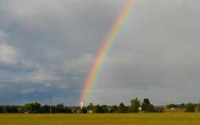 Картинка поле, лето, радуга, церковь