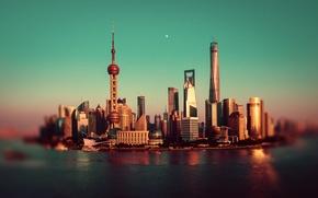 Картинка река, луна, Китай, Шанхай, Oriental Pearl Tower, Shanghai Tower, Shanghai World Financial Center, реки Хуанпу