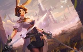 Обои девушка, город, оружие, меч, арт, уши