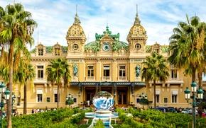 Картинка пальмы, люди, часы, фонари, фонтан, кусты, казино, дворец, скульптуры, Монако, Monte-Carlo Casino