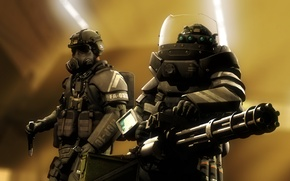 Картинка оружие, нож, солдаты, противогаз, шлем, Call of Duty, броня, cod, juggernaut, Call of Duty: Ghosts, …