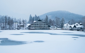 Картинка misty, winter, snow, fog, hill, hotel, frozen, Slovenia, freeze, cold, foggy, mist, frost, frozen lake, …
