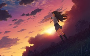Обои небо, девушка, солнце, облака, радость, закат, природа, аниме, арт, форма, школьница, mitsuki, 0gatsu