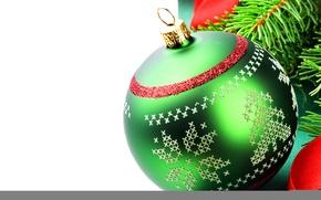 Обои новый год, рождество, шар, узор, иголки