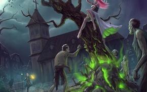 Картинка девушка, ночь, страх, дерево, магия, луна, арт, зомби