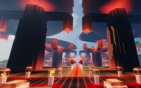 Картинка дорога, светильник, башни, храм, Minecraft, тотем, факед