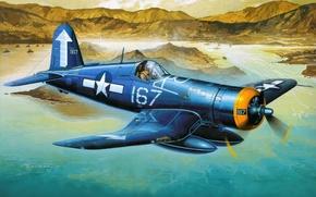 Картинка авиация, истребитель, арт, самолёт, американский, палубный, F4U-1D