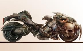 Картинка фон, фантастика, череп, арт, колеса, мотоцикл