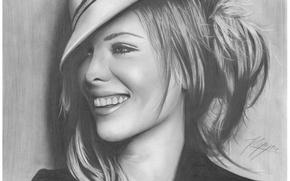 Картинка девушка, лицо, улыбка, рисунок, портрет, шляпа, актриса, Kate Beckinsale, карандаш