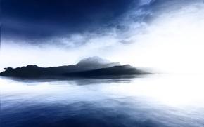 Обои вода, синий, Остров