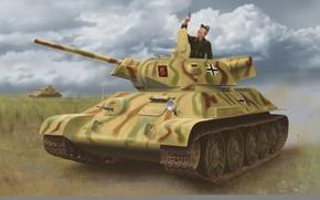Картинка art, painting, tank, ww2, captured tank, T-34-747 STZ Mod. 1942
