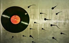 Обои музыка, винил, пластинка