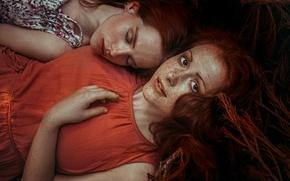 Картинка девушки, волосы, лица, лежат