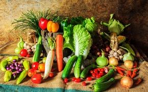 Картинка кукуруза, перец, овощи, помидоры, морковь, капуста, огурцы, carrot, corn, pepper, vegetables, cabbage, tomato