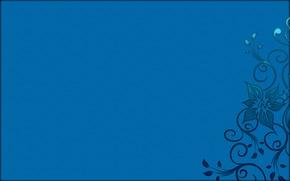 Обои синий фон, Узор, цветок, абстракция