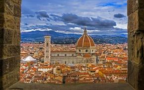 Обои вид с башни Палаццо Веккьо, Италия, Флоренция, дома, панорама, купол, собор Санта-Мария-дель-Фьоре