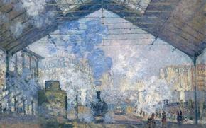 Обои картина, Клод Моне, жанровая, Станция Сен-Лазар. Внешний Вид