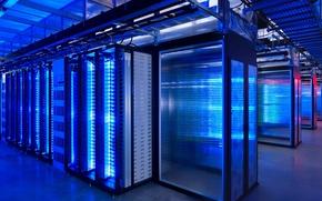 Картинка компьютер, синий, неон, подсветка, серверная, дата-центр, Сервер