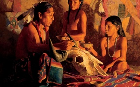 Картинка череп, арт, индеец, шаман, David Mann, Buffalo Shaman