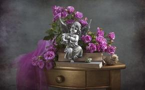 Картинка стол, розы, ангел, ракушка, статуэтка
