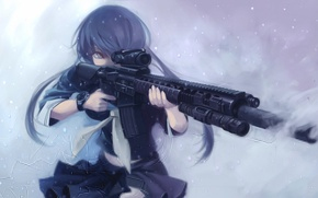 Картинка холод, зима, девушка, снег, оружие, форма, art, terabyte