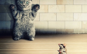 Обои tiles, cat, neko, funny, kitten, gun, mouse, criminal act, coercion, green eyes, high hands, .38 ...