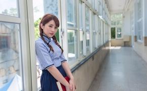 Картинка взгляд, девушка, лицо, коридор, книга, азиатка