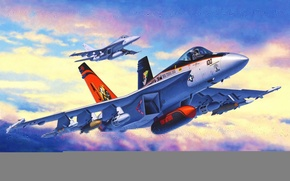 Картинка war, art, painting, jet, F/A 18E Super Hornet