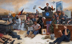 Обои война, америка, сша, Jon McNaughton, Obamanation, Барак Обама, люди