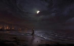 Картинка песок, море, девушка, ночь, луна, берег, арт, прибой, прогулка