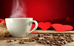 Картинка фон, сердце, кофе, сердца, пар, чашка, сердечки, красные, белая, напиток